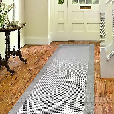 ILUKA OUTDOOR INDOOR GREY MODERN FLOOR RUG RUNNER 80x200cm **UV & WATER PROOF**