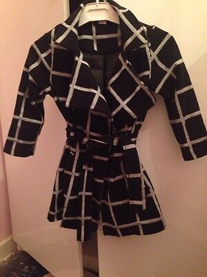 River Island Young Girls Age 3-4 Years Black Long Sleeve Belted Coat Jacket