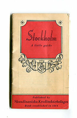 Vintage Guidebook STOCKHOLM A LITTLE GUIDE 1926 mini fold out map
