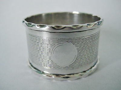 English Solid Sterling Silver Napkin Ring 1930 B'hm ~ Name Free