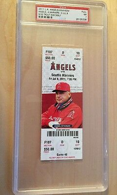 Mike Trout Mlb Debut First Game Full Ticket 7/8/2011 Psa 7