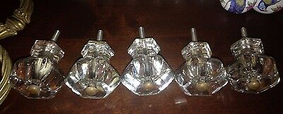 "5 Large antique 19th century matching Sandwich Glass drawer pulls 2"" diameter"