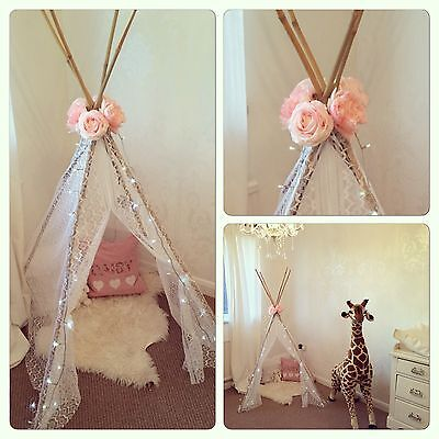NEW childrens 5ft White Lace and Rose Teepee-girls Indoor Pop Up Play Tent Tipi