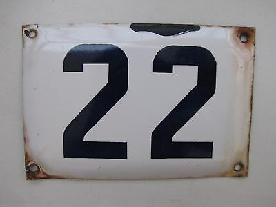 22 vintage ISRAELI  enamel porcelain number 22 house  sign # 22