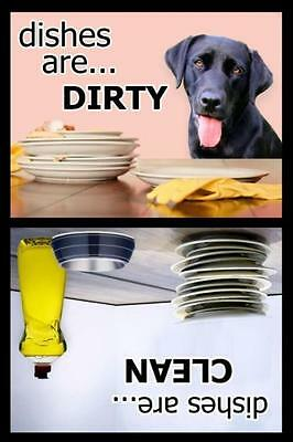 BLACK LAB Dishwasher Magnet Clean/Dirty NEW