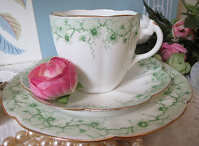 Rare Antique Shelley Late Foley China Lily Shaped Green Daisy Pattern Trio 4086