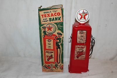 Vintage c.1950 Ideal's Texaco Bank Fire Chief Gas Pump Gas Station Sign W/Box