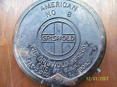 Vintage Griswold Waffle Iron w/o base American No 8