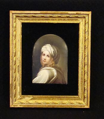 Framed Small Porcelain Plaque Hand Painted Portrait of a Young Woman