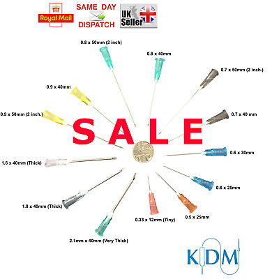 Sale !! Check Prices ! Needles Kdm Sterile Choice Of Qty & 11 Sizes Tiny Thick