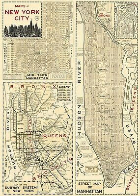 Cavallini New York City Map Flat Wrap