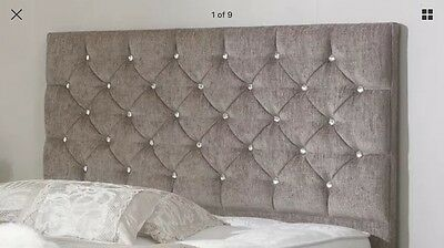 """Chenille Fabric Bedworth 24"""" Height Diamante Headboard 2ft6,3tf,4ft,4ft6,5ft,6ft"""