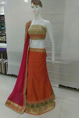 Indian Party Wear Designer Bollywood Lengha choli ,Saree with bloues pice silk.