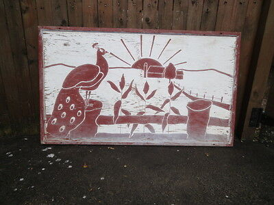 Vintage Wooden Hand Painted Original Primitive Country Barn Folk Art Sun Sign