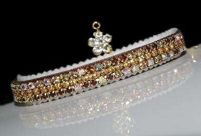 MIXED TOPAZ & AURORA BOREALIS CAT COLLAR made PERCIOSA  CRYSTALS