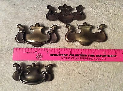 Lot  Of  4 Vintage Brass Drawer Pulls