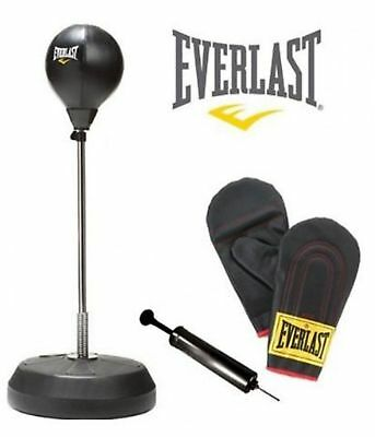 Everlast Speedball Stand Platform Boxing Bag Gloves Rope Kit Speed Bag Ball Pump