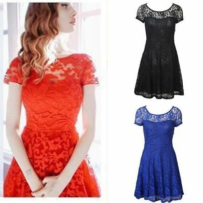 New Women Short Sleeve Lace Bodycon Cocktail Evening Party Short Mini Dress