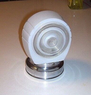 Vntage Art Deco Wall Fixture or Porch White Glass Lamp Shade & Chrome Mount