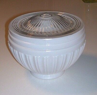 Vintage LARGE ART DECO  GLASS SCHOOL HOUSE CEILING LIGHT GLOBE SHADE nice