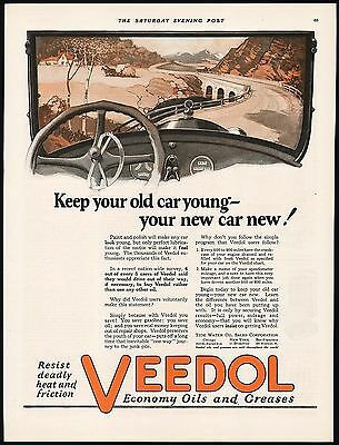 Vintage magazine ad VEEDOL Oils and Greases from 1923 automobile pictured nrmt+