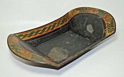 Antique Hand Painted Tole Ware Tray Fruit Bowl Floral Black & Gold