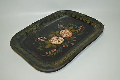 Antique Hand Painted Tole Tin Ware Tray Black Floral Pattern Plate