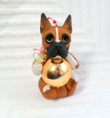 Personalized Boxer Ornament Polymer Clay DOG sculpted by Raquel