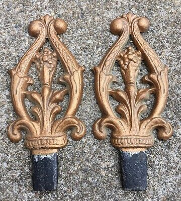 Antique Cast Iron Curtain Rod Finials PAIR Victorian Ornate