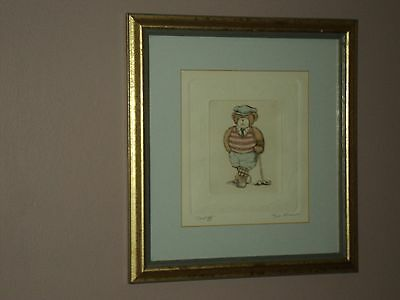 Classic Limted Edition Golfing Bear Etching Print Signed By David Olson