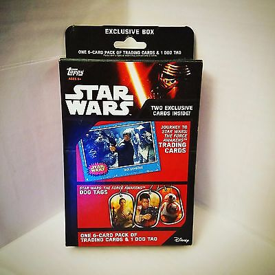 Topps Star Wars: The Force Awakens Trading Cards Box - 6 Cards + Dog Tag - NIP