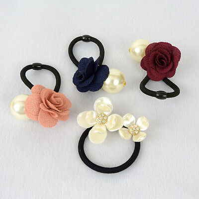 Fashion Hair Tie - Floral Rose Faux Pearl Style