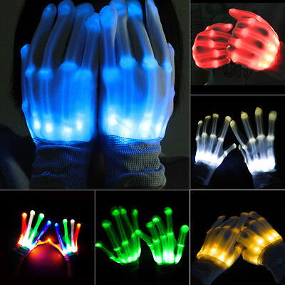 1 Pair LED Gloves Flashing Light Up Dance Rave Party Fun Multi-Color Halloween