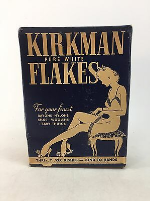 KIRKMAN Pure White Flakes DETERGENT BOX ~ Soap Advertising ~ vintage ~ UNOPENED