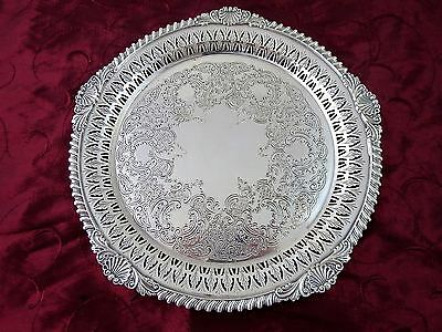 Vintage Top Quality BIRKS Engraved Silverplate ROUND TRAY Shell & Gadroon 10""