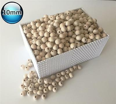 100 X 10mm Natural Wood Bead Unpainted round Wooden Beads Spacer Ball Teething