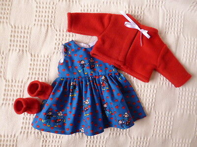 BJB dolls clothes Blue heart dress red jacket booties 3pcs fit baby born doll