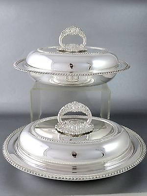 Pair Vintage Top Quality BIRKS Silverplate COVERED ENTREE DISHES