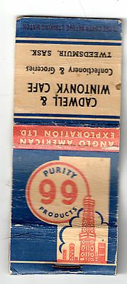 Purity 99 Front Strike Vintage Matchbook Covers Mostly Empty