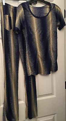 Psychedelic Disco Pant Suit outfit 1970's Handmade Top Small NYLON Pants Med