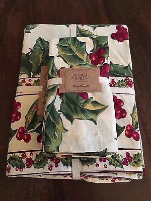 """APRIL CORNELL 60"""" x 104"""" Tablecloth & 12 Napkins Christmas Holly Berry Holiday"""