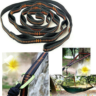 2x Hammock Strap Adjustable Tree Hanging Heavy Duty Extension Suspension Rope