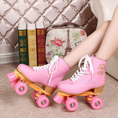 New Adults Roller Skates Quad Outdoor Indoor Double Line 4 Wheels Skating Shoes