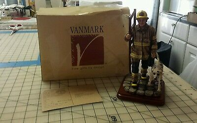 """Vanmark Red Hats of Courage 1998 """"All in a Days Work""""  w/Box Firefighters w/Dog"""