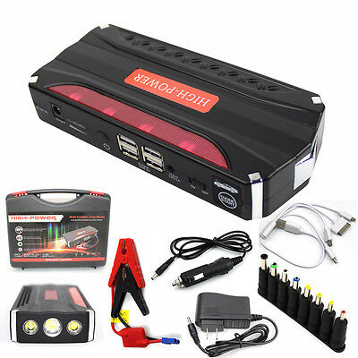 AU Emergency 68800mAh 4USB LED Power Bank Auto Car Jump Starter Battery Charger