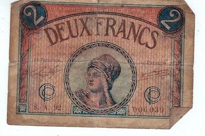 French Deaux 2 Franc Paper Currency 1915