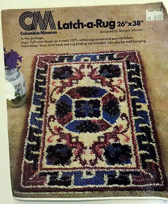 "Columbia Minerva Latch Hook Rug Canvas Only IMARI Full Color Design 26""x38"""