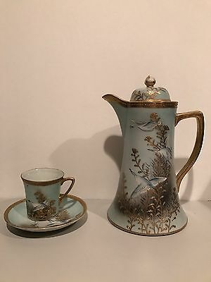 NIPPON Tea Coffee POT Jeweled White Geese Swan Birds Hand Painted Japan RARE!