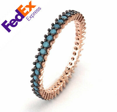 Rose Gold 925 Sterling Silver Turkish Luxury Turquoise Stone Lady's Fine Ring