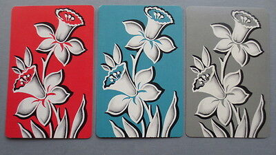Set of 3 Single Swap/Playing Cards - Vintage Daffodils